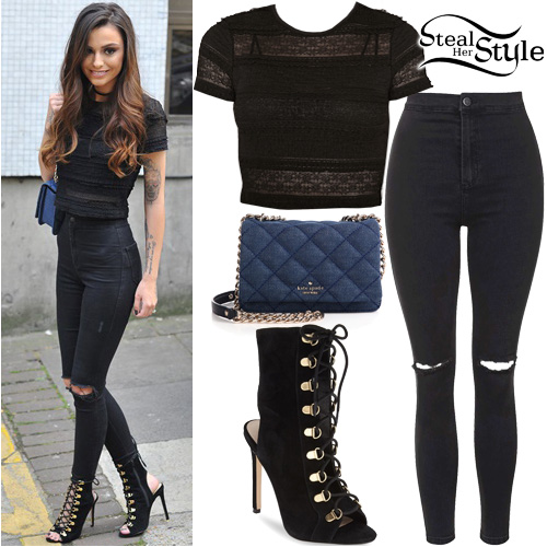 Cher Lloyd Lace Crop Top Black Jeans Steal Her Style