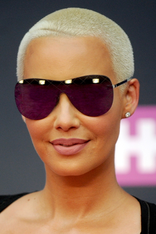 Amber Rose Straight Platinum Blonde Buzz Cut Hairstyle