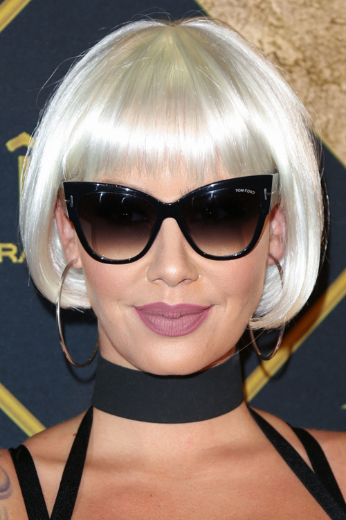 Amber Rose Straight Silver Bob Choppy Bangs Inward Curl