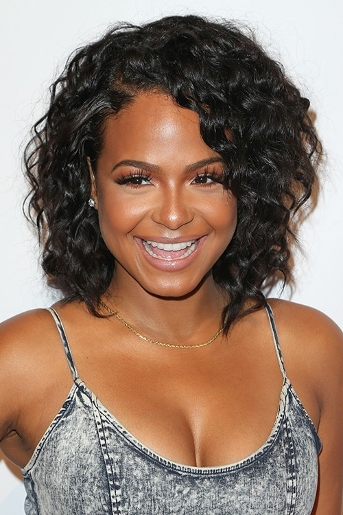 Christina Milian Curly Black Afro Choppy Layers Hairstyle