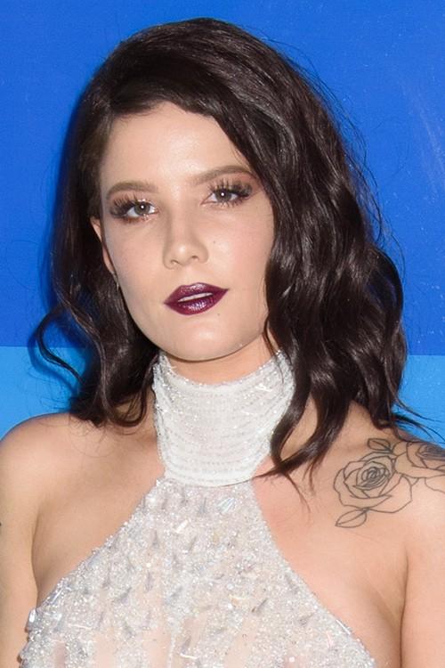 Halsey Wavy Dark Brown Loose Waves Hairstyle Steal Her Style