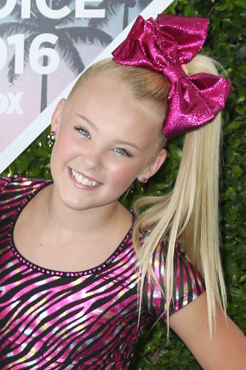 Jojo Siwa Straight Platinum Blonde Hair Bow High Ponytail