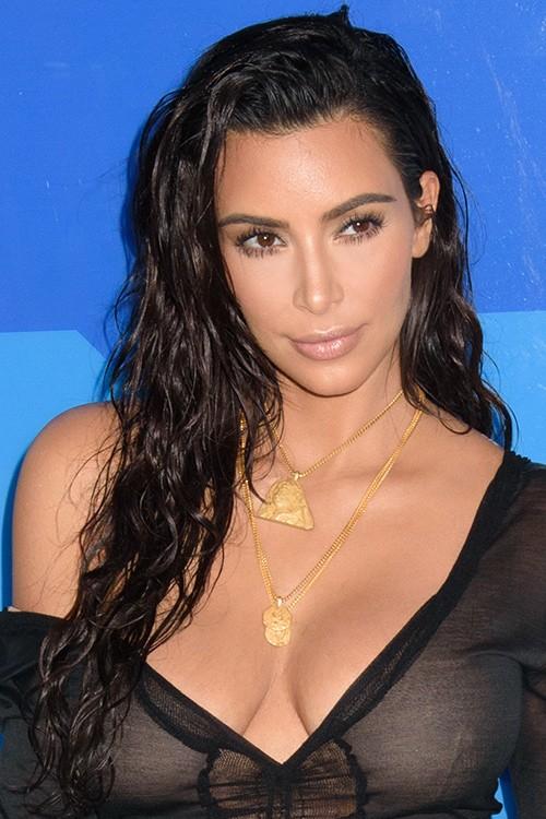 Kim Kardashian Wavy Black Pin Curls, Side Part Hairstyle   Steal Her ... Kim Kardashian