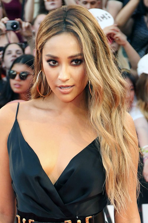 Shay Mitchell Wavy Medium Brown All Over Highlights Faux Sidecut