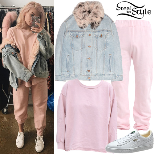 entire collection beautiful design store Kylie Jenner: Denim Jacket, Pink Sweatpants | Steal Her Style