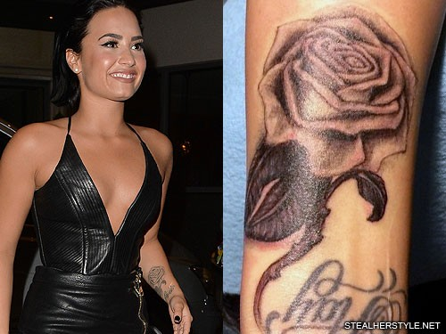 Demi Lovato Rose Forearm Tattoo Steal Her Style