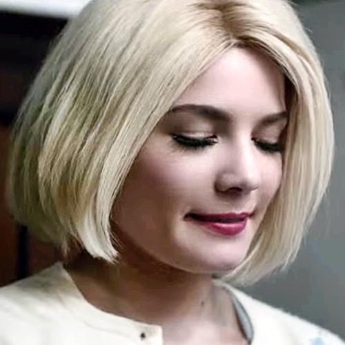 Halsey Straight Platinum Blonde Blunt Cut Bob Hairstyle