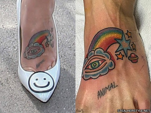 Kesha Clouds Eye Planet Rainbow Star Foot Tattoo Steal Her Style