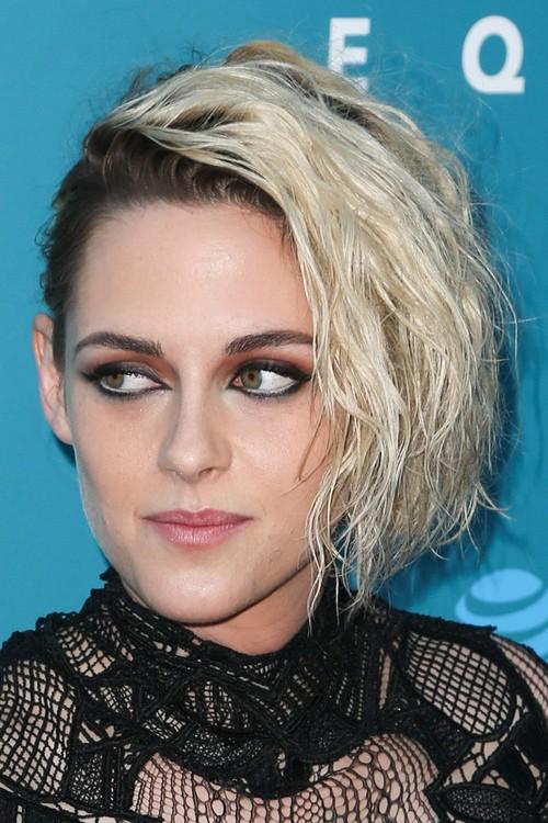 Kristen Stewart Wavy Platinum Blonde Angled Bob Dark