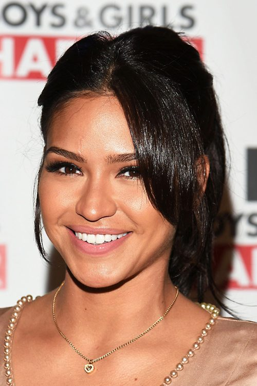 Cassie Ventura Wavy Dark Brown High Ponytail Ponytail