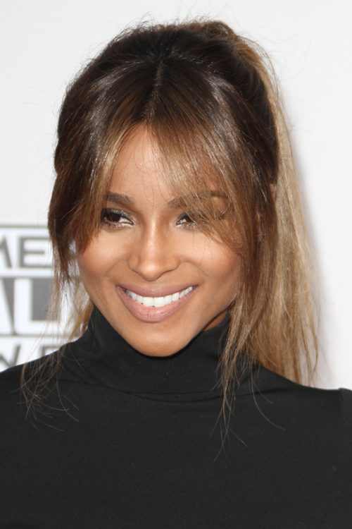 Ciara Straight Medium Brown High Ponytail, Ombré ...