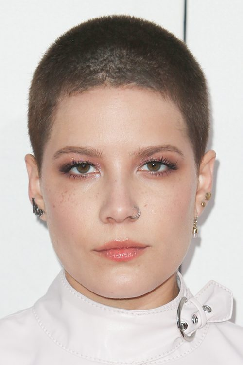 Halsey Straight Medium Brown Buzz Cut Hairstyle | Steal Her Style