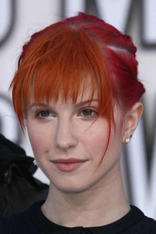 Hayley Williams Straight Red Choppy Bangs, Cornrows ...