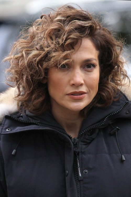 Jennifer Lopez Curly Medium Brown All Over Highlights