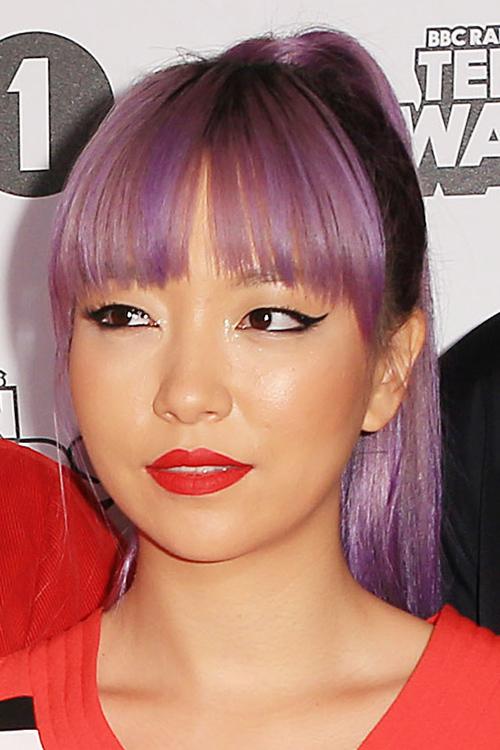 Jinjoo Lee Straight Purple Curved Bangs High Ponytail