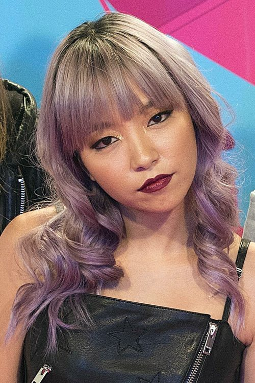 Jinjoo Lee Wavy Purple Barrel Curls Straight Bangs