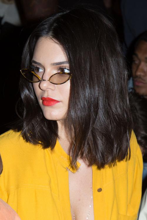 Kendall Jenner Straight Dark Brown Blunt Cut Bob