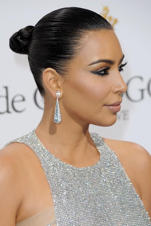 Kim Kardashian Straight Dark Brown Bun Hairstyle Steal Her Style