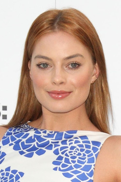 Margot Robbie Straight Ginger Flat Ironed Hairstyle