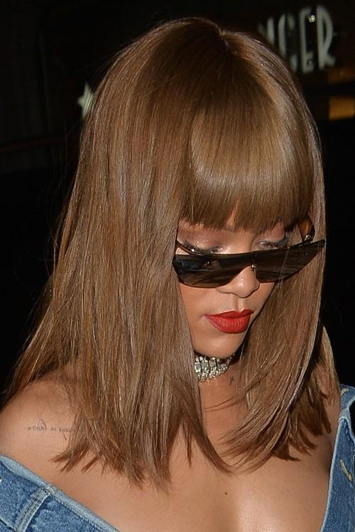 Rihanna Straight Medium Brown Bob Straight Bangs