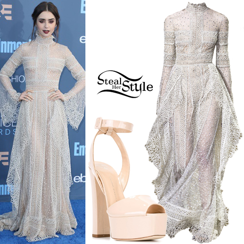Lily Collins at The 22nd Annual Critics' Choice Awards at Barker Hanger, Santa Monica. December 11th, 2016 - photo: PacificCoastNews
