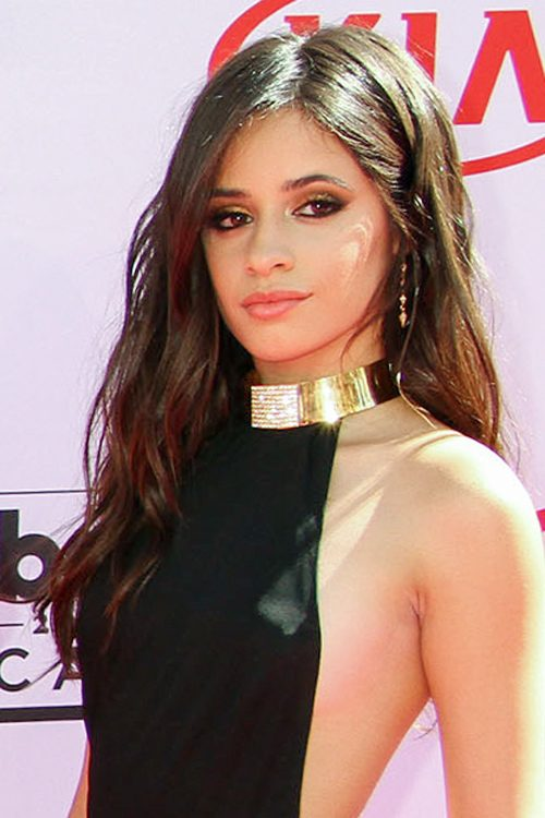 camila cabello wavy dark brown loose waves side part