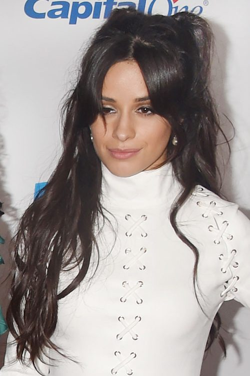 Camila Cabello Wavy Dark Brown Half Up Half Down Loose