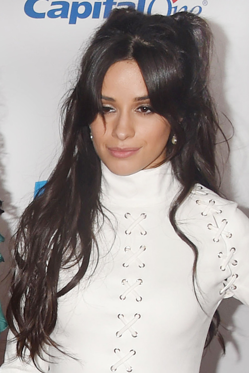 Camila Cabello Wavy Dark Brown Half Up Half Down Loose