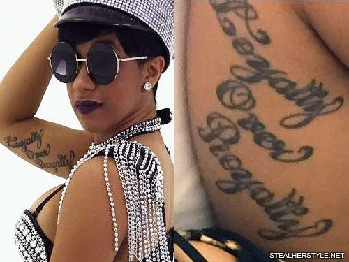 "Cardi B Piercing: Cardi B ""Loyalty Over Royalty"" Bicep Tattoo"