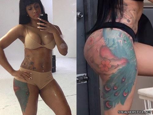 Cardi Bs Body: Cardi B Peacock Hip Tattoo