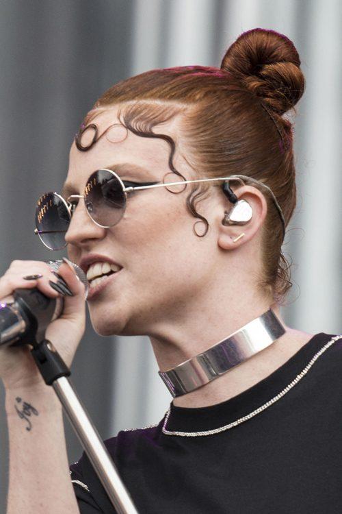 Jess Glynne Straight Auburn Bun Hairstyle Steal Her Style