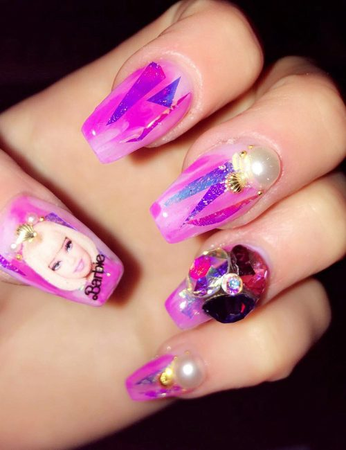 Celebrity nail art photos with barbie steal her style barbie nails prinsesfo Images