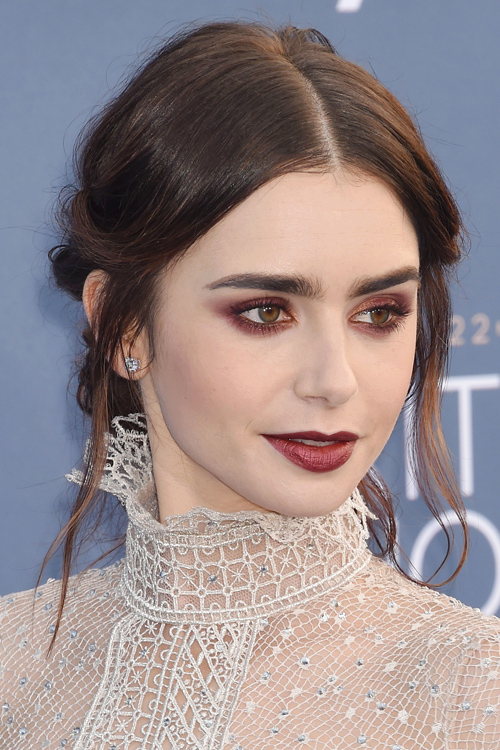 Lily Collins Wavy Dark Brown Face Framing Pieces Updo