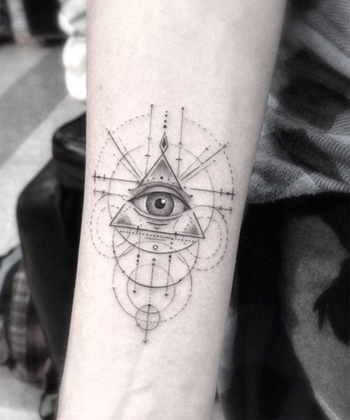 0fccecf24e798 Sky Ferreira Circle, Eye, Geometric Design, Lines Forearm Tattoo ...