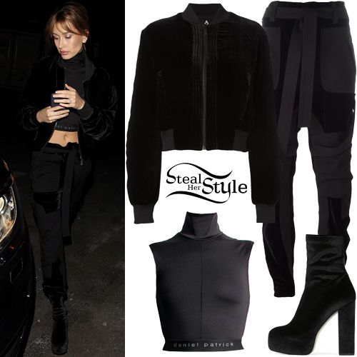 ce6981ac127 Hailey Baldwin · Black Velvet Jacket
