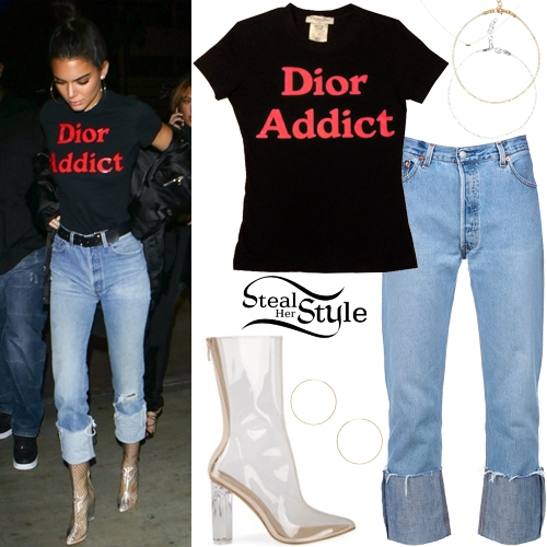 Kendall Jenner 39 Dior Addict 39 T Shirt Clear Boots Steal Her Style