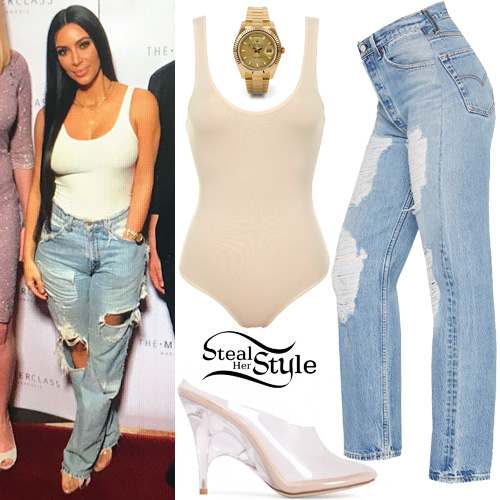 77a0c810fc35 Kim Kardashian: Nude Bodysuit, Ripped Jeans | Steal Her Style