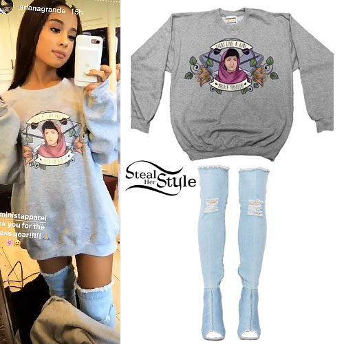 Ariana Grande: Malala Sweatshirt, Denim Boots | Steal Her ...