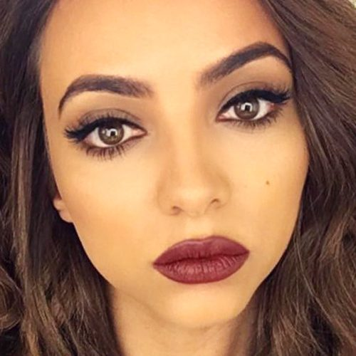 jade thirlwall makeup black eyeshadow taupe eyeshadow burgundy lipstick steal her style. Black Bedroom Furniture Sets. Home Design Ideas