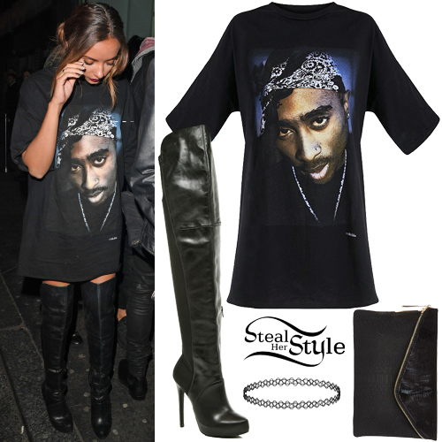 f0940112a2 Jade Thirlwall: 2pac T-Shirt, Black Knee Boots | Steal Her Style