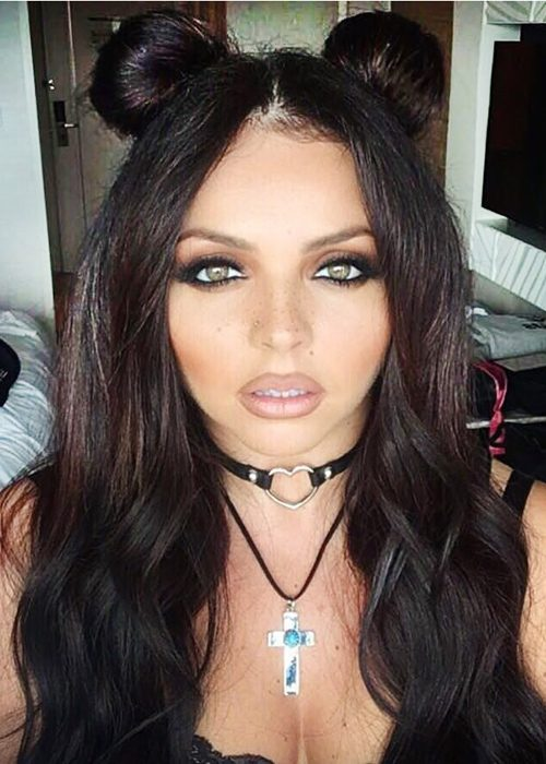 Jesy Nelson Wavy Dark Brown Half Up Half Down Multiple Buns Hairstyle Steal Her Style