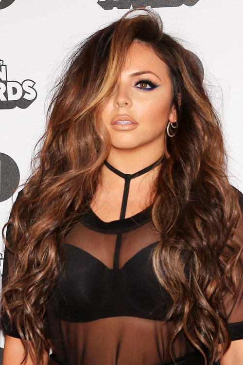 Jesy Nelson Wavy Medium Brown All Over Highlights Loose Waves