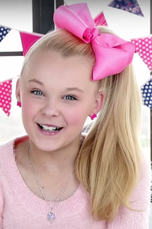 Jojo Siwa Straight Golden Blonde Hair Bow High Ponytail