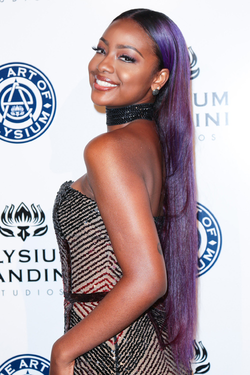 Justine Skye Straight Purple Uneven Color Hairstyle