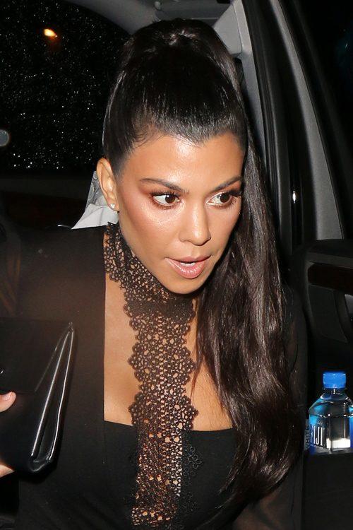 kourtney kardashian straight dark brown high ponytail