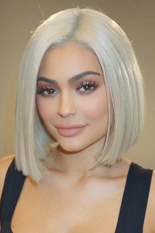 Kylie Jenner Straight Silver Blunt Cut Bob Hairstyle