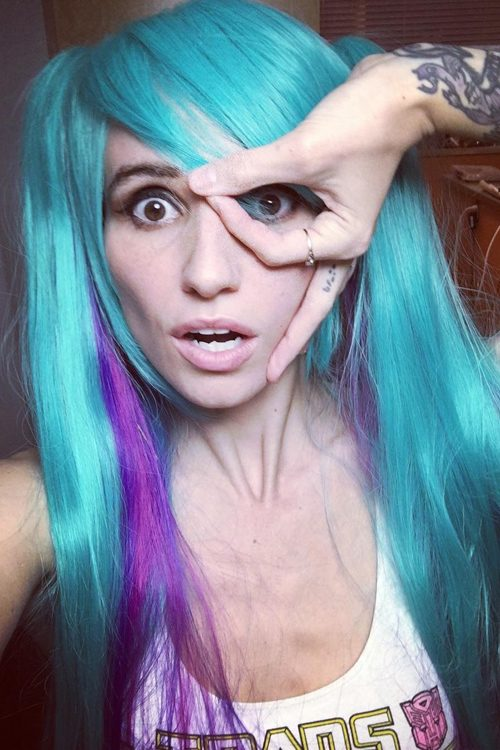 LIGHTS Poxleitner Straight Blue Sideswept Bangs, Two-Tone ...