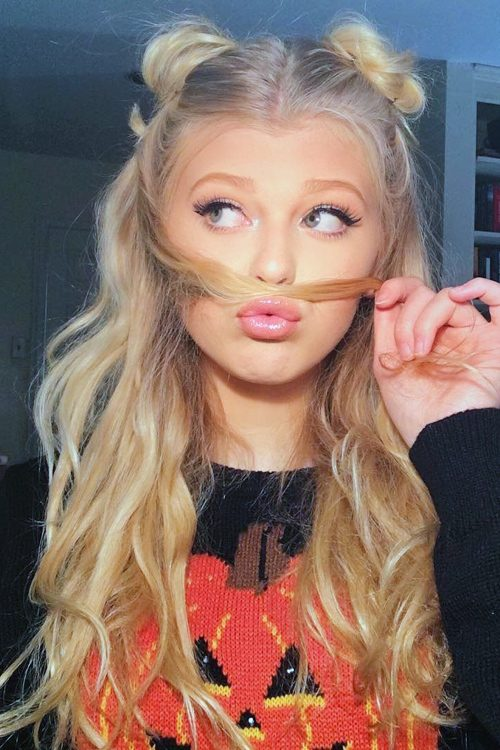 Loren Gray Beech Wavy Light Brown Half Up Half Down