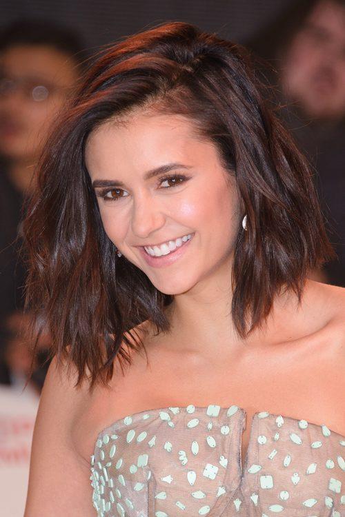 Nina dobrev wavy dark brown blunt cut bob hairstyle steal her style