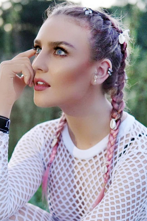 Perrie Edwards Straight Pink Dark Roots Pigtail Braids Uneven Color Hairstyle Steal Her Style